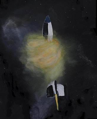 V2 Rocket Painting - Exploding Rocket Position 7 by Carl S Kralich