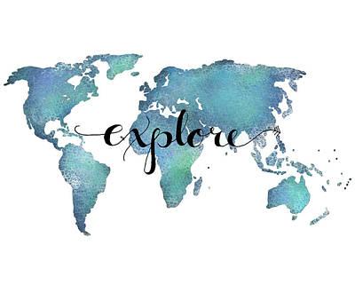 Explore Map Art- Aqua Art Print by Michelle Eshleman