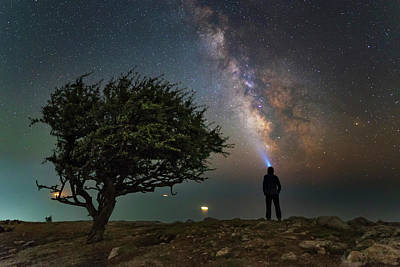 Explorer Looking At The Milky Way Art Print