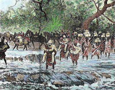 Slaves Photograph - Explorers Crossing A Stream by Prisma Archivo