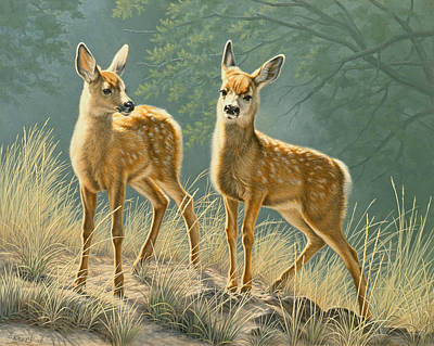 Mule Deer Fawn Painting - Explorers by Paul Krapf