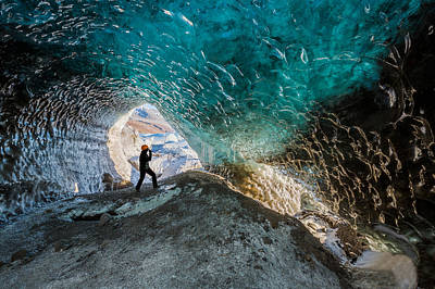 Exploring A Glacial Ice Cave Art Print by Panoramic Images