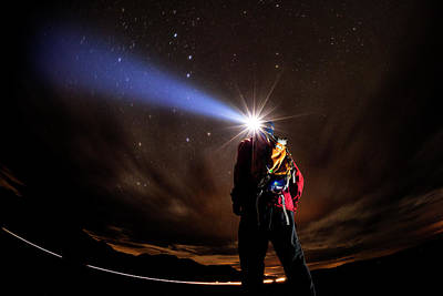 Photograph - Exploring By Headlamp by Vernon Wiley