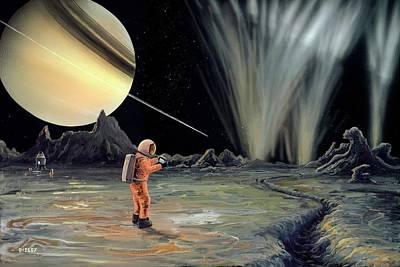Planets Photograph - Exploring Enceladus by Richard Bizley