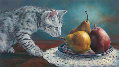 Kitten Painting - Exploring by Lucie Bilodeau