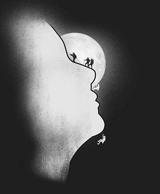 Moon Digital Art - Exploring The Profile by Neelanjana  Bandyopadhyay
