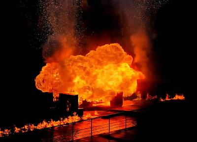 Gasoline Photograph - Explosion And Fire by Jim Hughes