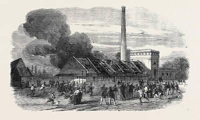 Explosion At The Government Gunpowder Works Near Waltham Art Print by English School