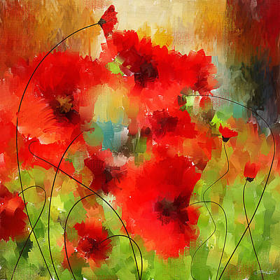 Poppies Art Painting - Explosions Galore by Lourry Legarde