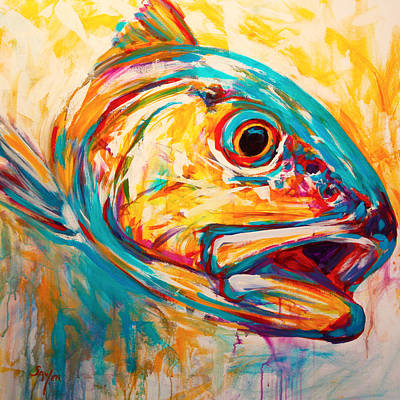 Cadmium Red Painting - Expressionist Redfish by Savlen Art