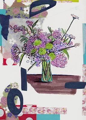 Expressive Art Mixed Media - Expressive Flower Collage by Rosalina Bojadschijew