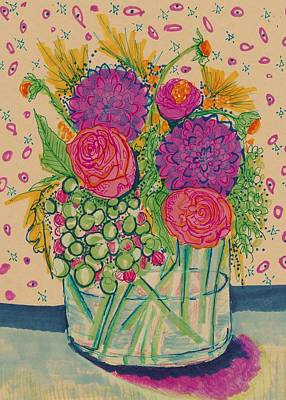 Still Life Drawings - Expressive Flowers by Rosalina Bojadschijew