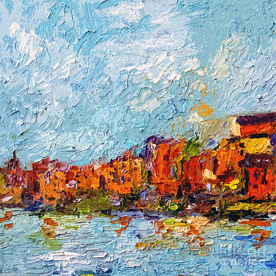 Painting - Expressive Seaside Village Square Format by Ginette Callaway