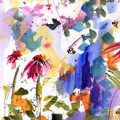 Purple Flowers Painting - Expressive Watercolor Flowers And Bees by Ginette Callaway