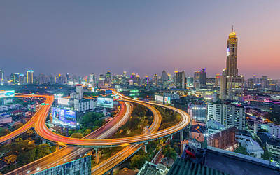 Expressway In Bangkok Art Print by Chalermkiat Seedokmai