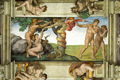 Religious Artist Painting - Expulsion From Paradise by Michelangelo di Lodovico Buonarroti Simoni