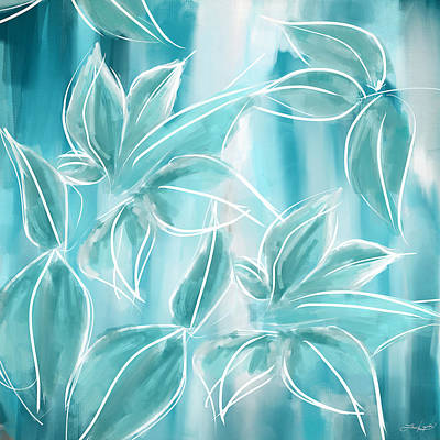 Cerulean Blue Painting - Exquisite Bloom by Lourry Legarde