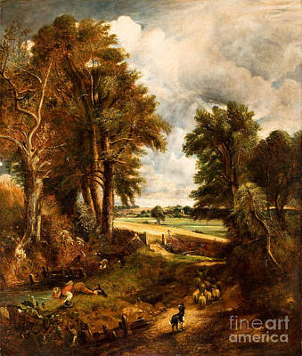 Extensive Landscape Painting - Extensive Landscape With Boy Drinking Water From A Stream by Celestial Images