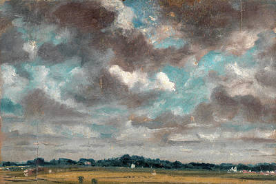 Extensive Landscape Painting - Extensive Landscape With Grey Clouds Study Of Clouds by Litz Collection