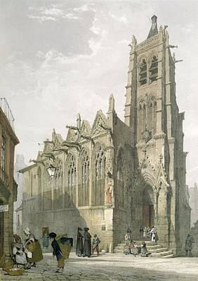 Architecture Drawing - Exterior Of The Church Of St. Severin, Paris by Thomas Shotter Boys