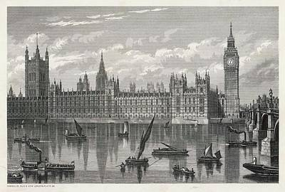 Big Ben Drawing - Exterior View Of Parliament  Buildings by Mary Evans Picture Library