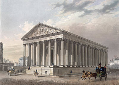 Madeleine Photograph - Exterior View Of The Madeleine, Paris Colour Litho by Philippe Benoist