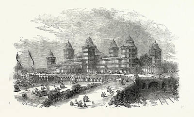Exterior View Of The Palace At Muswell Hill Art Print by English School