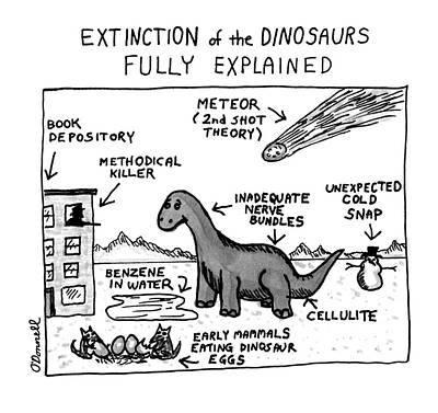 History Drawing - Extinction Of The Dinosaurs Fully Explained by Mark O'Donnel