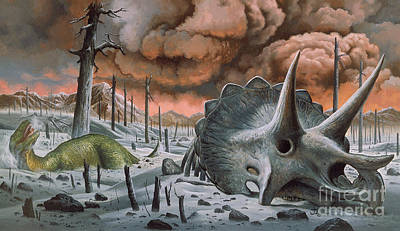 Reconstruction Photograph - Extinction Of The Dinosaurs by Publiphoto