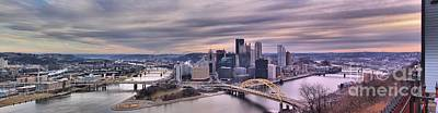 Photograph - Extra Wide Purple Pittsburgh Panorama by Adam Jewell