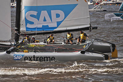 Photograph - Extreme 40 Catamaran Racing 4 by Steve Purnell