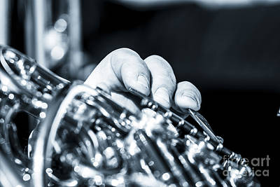 Extreme Close Up Of Fingering Of French Horn Art Print