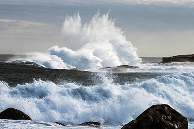 Extreme Weather With Waves Crashing On Art Print by John White Photos