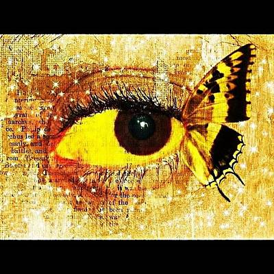 #eye #butterfly #brown #black #edit Art Print