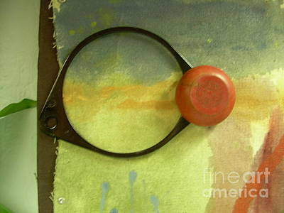 Printmaking Mixed Media - Eye Fragment With Sky And Red Trick Yo-yo by Cathy Peterson