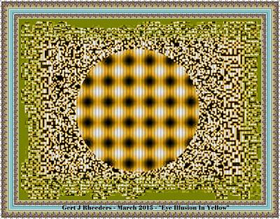 Holiday Pillows 2019 - Eye Illusion in Dark Yellow. H a by Gert J Rheeders