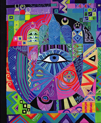 Religious Charm Photograph - Eye Of Destiny, 1992 Acrylic On Canvas by Laila Shawa