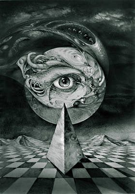 Surrealism Drawings Royalty Free Images - Eye Of The Dark Star Royalty-Free Image by Otto Rapp