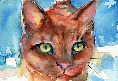 Orange Tabby Painting - Eye Of The Tiger by Maria's Watercolor