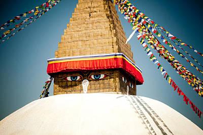 Tibetan Buddhism Photograph - Eye Of Tibetan Stupa Boudnath And Buddhist Prayer Flags  by Raimond Klavins