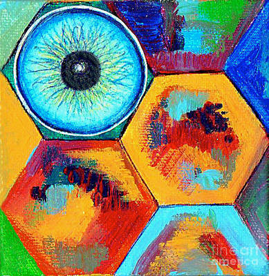 Color Block Drawing - Eye On Honeycomb by Genevieve Esson
