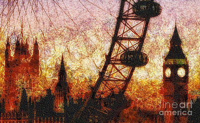 Big Ben Mixed Media - Eye On London by Mo T