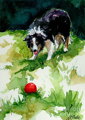 Herding Dog Painting - Eye On Tthe Ball by Molly Poole