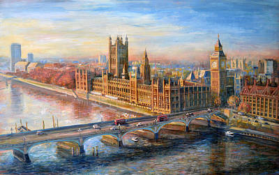 London Eye Painting - Eye Over London by Cheryl Louise Johnson