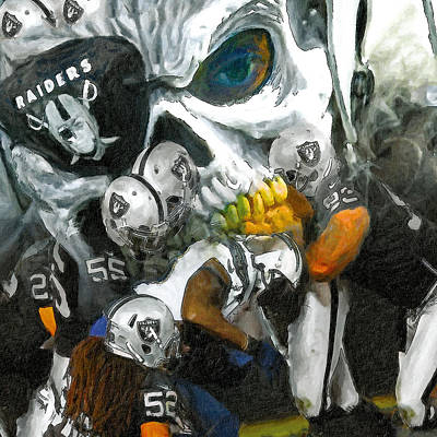 Oakland Raiders Painting - Eye Patch Raider Nation by John Farr