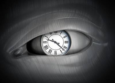 Psychological Photograph - Eye With Clock by Andrzej Wojcicki