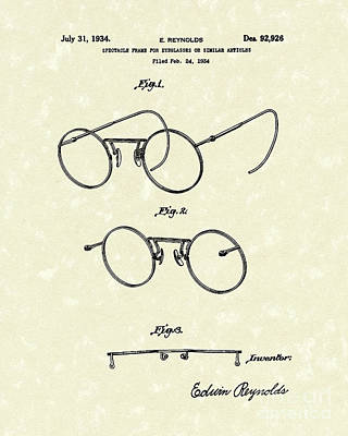 Drawing - Eyeglass Frame 1934 Patent Art by Prior Art Design