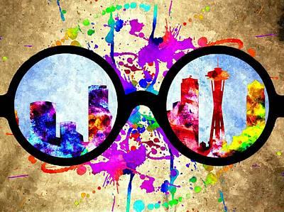 Seattle Skyline Mixed Media - Eyeglasses Seattle Watercolor by Daniel Janda
