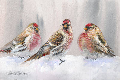 Red Finch Painting - Snowy Birds - Eyeing The Feeder 2 Alaskan Redpolls In Winter Scene by Karen Whitworth