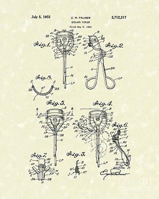 Drawing - Eyelash Curler 1955 Patent Art by Prior Art Design